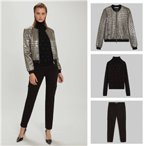 Sparkle and shine! Rock and couture hit it off in this stamped croc silver lamé bomber jacket.
