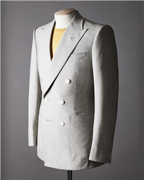 Bespoke lightweight worsted double-breasted suit In warm climates, breathable,