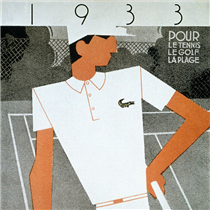 The very first advertisement for the iconic L.12.12 polo.