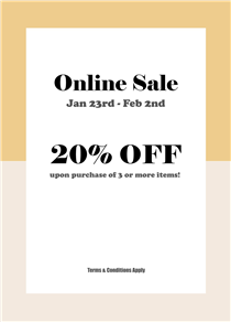 Exclusive online sale! EXTRA 20% OFF upon purchase of 3 pcs or above (including on sales items) starting from today until 2 Feb, 2020