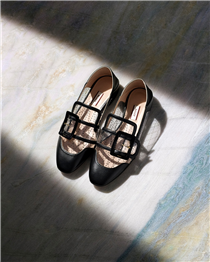 See through. A playful take on the classic Bally Janelle flats.