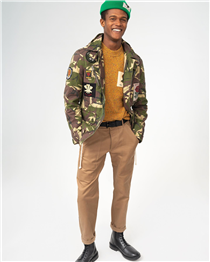 This season's signature Army Field Jacket in camouflage with a selection of house badges . This versatile and unique piece gives a nod to our military tradition and heritage. Pair it with our mustard colour mélange rose patch jumper to brighten up your winter wardrobe.
